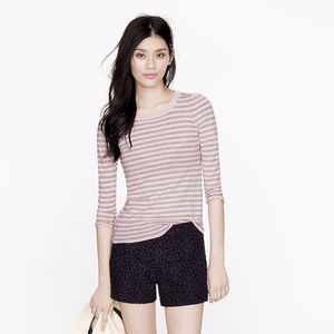 Merino puff-sleeve sweater in gray stripe